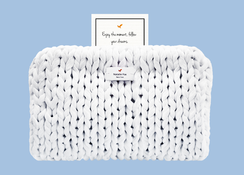 "Natalie Fox Knit Bag with Inspirational ""Secret"" $170"