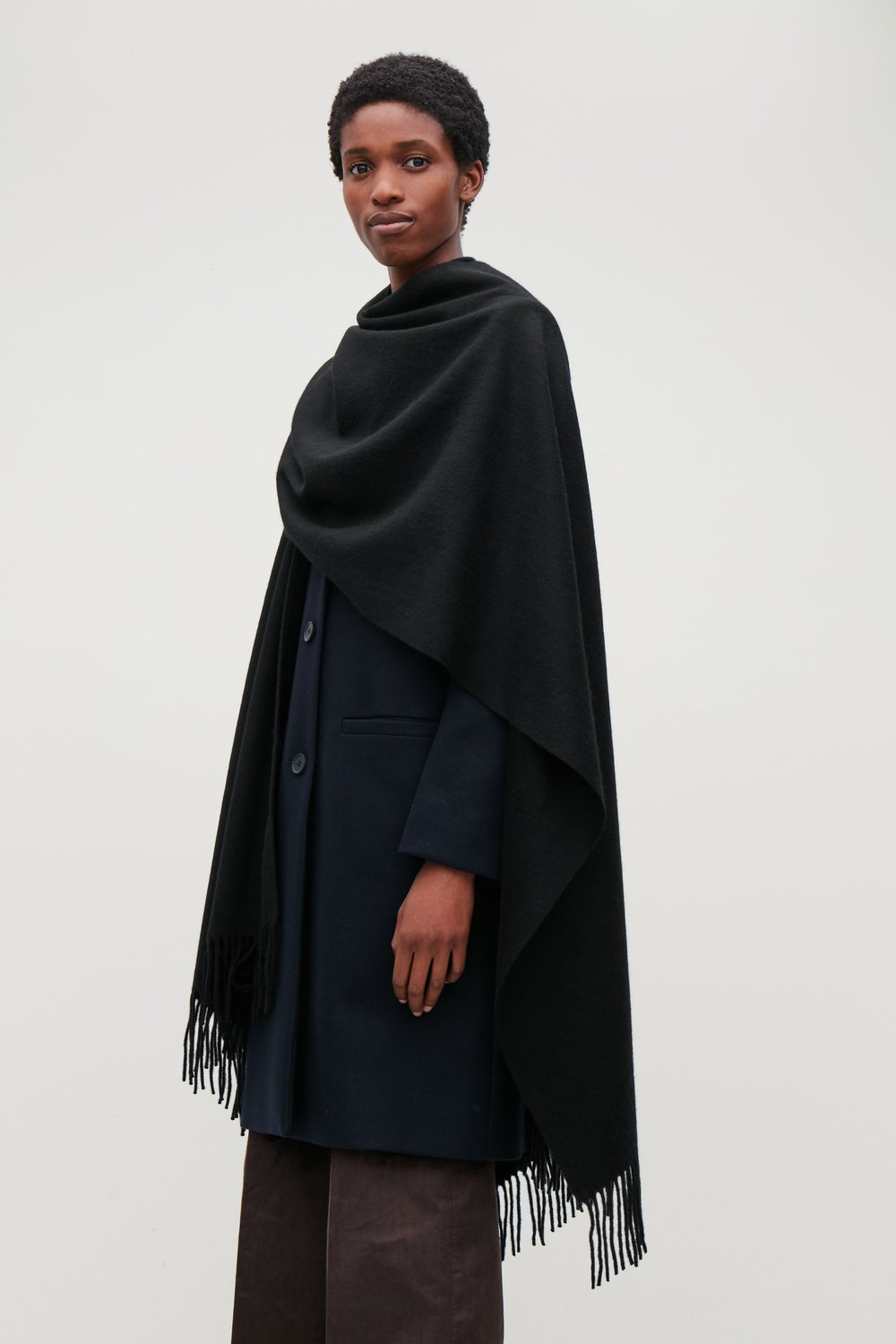 Cos Fringed Cape $125