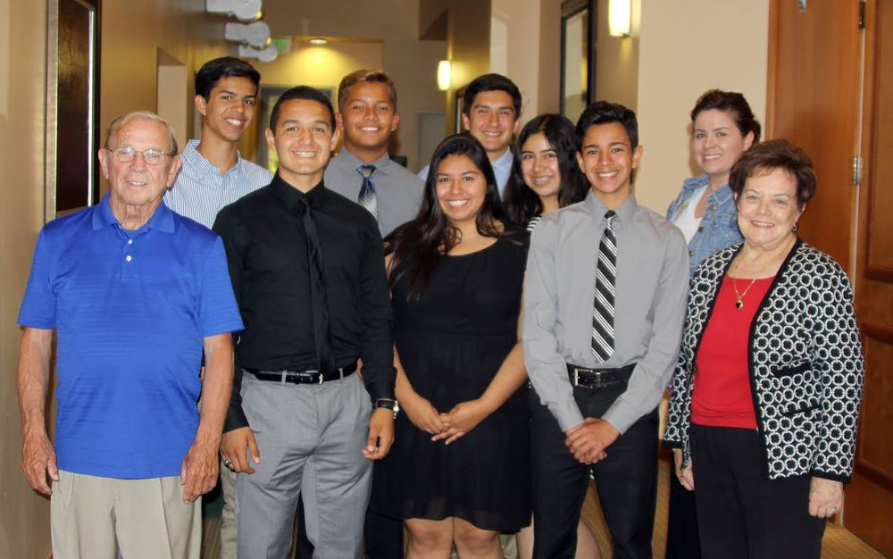The official photo of the Optimist Club of Downey's 2015 Oratorical Contest includes contest judge Meredith Perkins, winning students Cristian Pardo, Andrew Del Valle, Bernardo Carrillo, Alyssa Jimenez, Rafael Delatorre, Brittany Lizarraga and Daniel Pardo, Warren Humanitarian Society advisor Jackie Pardo and contest judge Beverly Mathis.