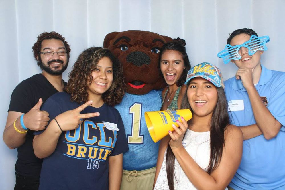 Newly admitted UCLA students pose with Joe Bruin at the annual New Student Send-Off last week.