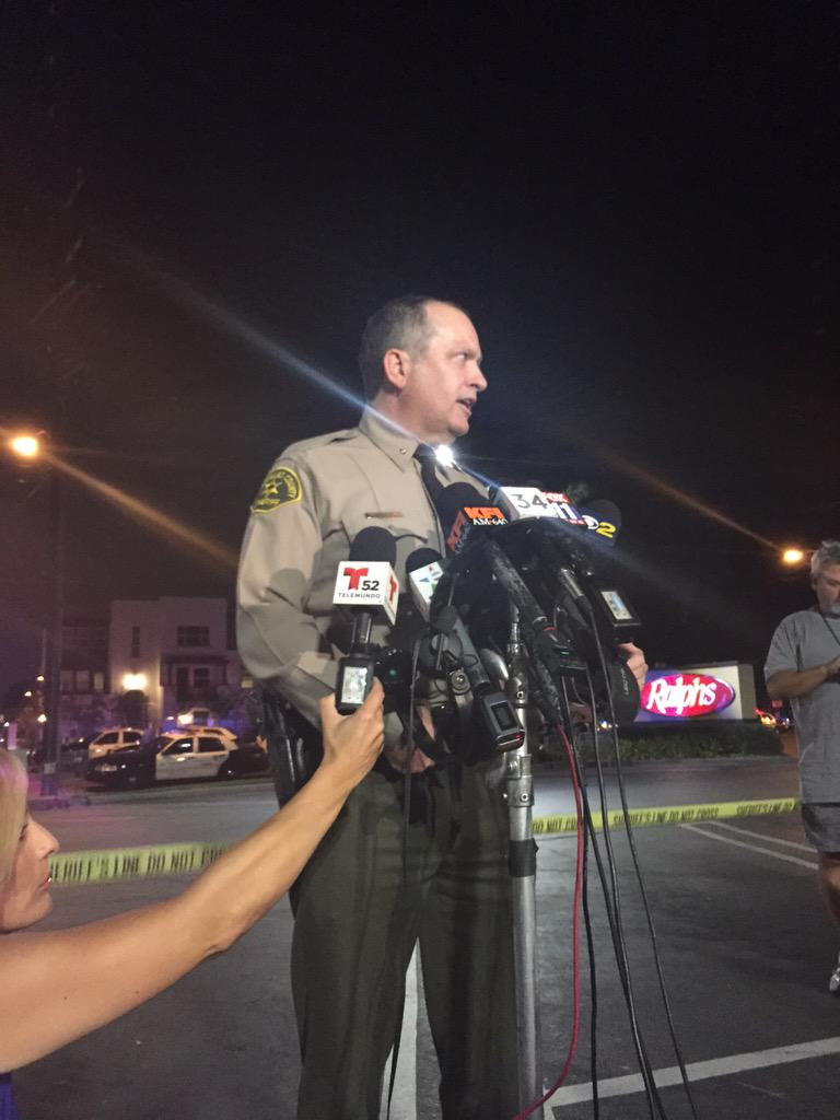 LASD Capt. Mike Parker addresses the media. Photo by Alex Dominguez
