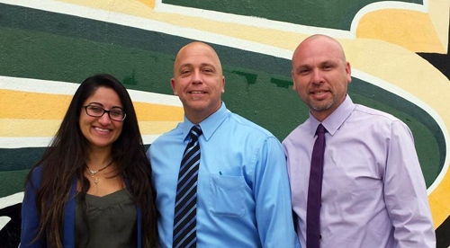 Dr. Robert Jagielski will take over as principal of Sussman Middle School on July 1. He is pictured with vice principal Dr. Anita Arora and dean of students Jesus Alvarez.