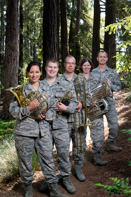 Members of Golden West Brass: Technical Sgt. Charlene Mayes, Airman First Class Nicholas Ciardelli, Technical Sgt. Scott Ruedger, Staff Sgt. Jill Corbett, and Airman First Class Stephen Denison.