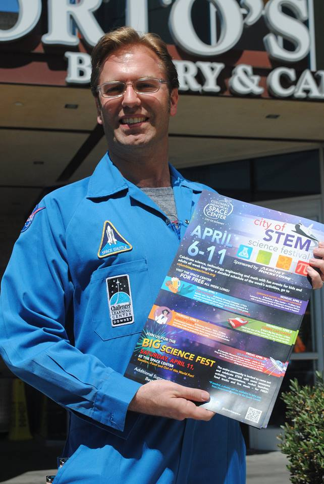 Ben Dickow, executive producer of the Columbia Memorial Space Center, was in downtown Downey last week promoting STEM Week in Downey, which starts Monday.