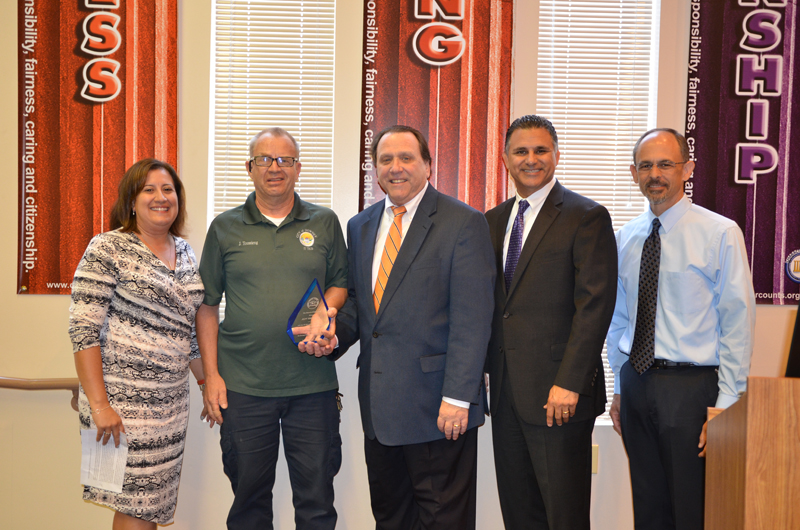 Stauffer Middle School principal Alyda Mir, retired police officer Jeff Toussieng, school board member D. Mark Morris, DUSD Superintendent Dr. John Garcia and Doty Middle School principal Brent Shubin.
