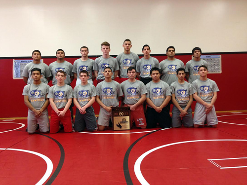 Downey High's CIF champion wrestling team. Bottom row, from left: Carlos Rivas (12) Andrew Lopez (12) Mark Lopez (12) Pablo Ochoa (11) Rigoberto Garcia (12) Emmanuel Bravo (11) Jonathan Prata (9) and Gregory Logez (11).  Top row: Nick Arellano (10) Miguel Bravo (10) Dean New (12) Dylan Moreno (12) Randy Chavez (12) Giovanni Leon (11) Angel Beaz (12) and Armondo Padilla (10).