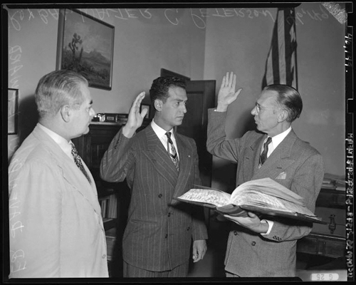 Photo courtesy UCLA Edward Roybal is sworn in as a Los Angeles City Council member in this 1949 photo.