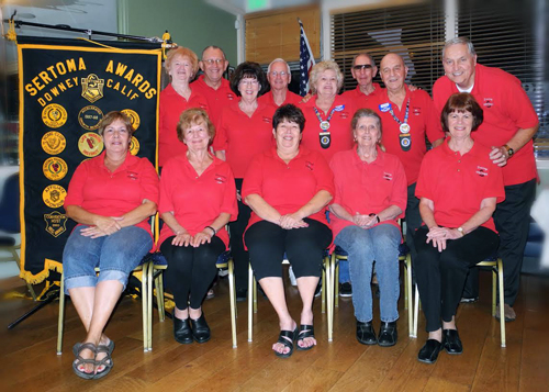 Downey Sertoma Club members, top row, from left: Ilene Wheeler, President John McKinsey, Martha Call, Henry Call, Geri LIttle, Britt Rivers, Tom Little and Maurie Thomas. Bottom row: Sharon Tooley, Ardith Rivers, District Gov. Pat McCool, Sammi-Jo Dunphy and Judi Thomas.