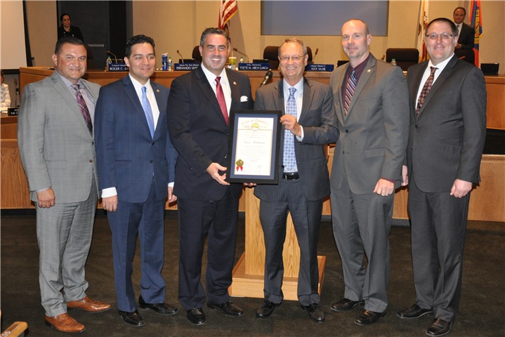From left: Councilman Luis Marquez, Mayor Pro Tem Fernando Vasquez, Mayor Alex Saab, Steve Roberson, Councilman Roger Brossmer and Councilman Sean Ashton. Photo by Jim Derry