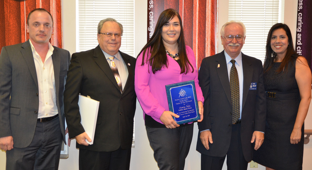 From left: Downey Masonic Lodge 220's senior warden, Aleksey Duplinsky and Master Gary Phillips; Masonic Teacher of the Year, Natalie Soto; Downey Masonic Lodge 220's junior warden, Bill Wood and Griffiths Middle School principal, Dr. Rani Bertsch.