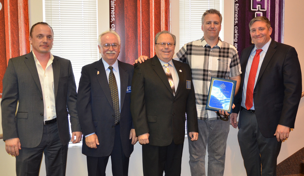 From left: Downey Masonic Lodge 220's senior warden, Aleksey Duplinsky; junior warden, Bill Wood; master, Gary Phillips; Masonic Teacher of the Year, Ryan Chitwood ; and Columbus High School principal, Anthony Zegarra.