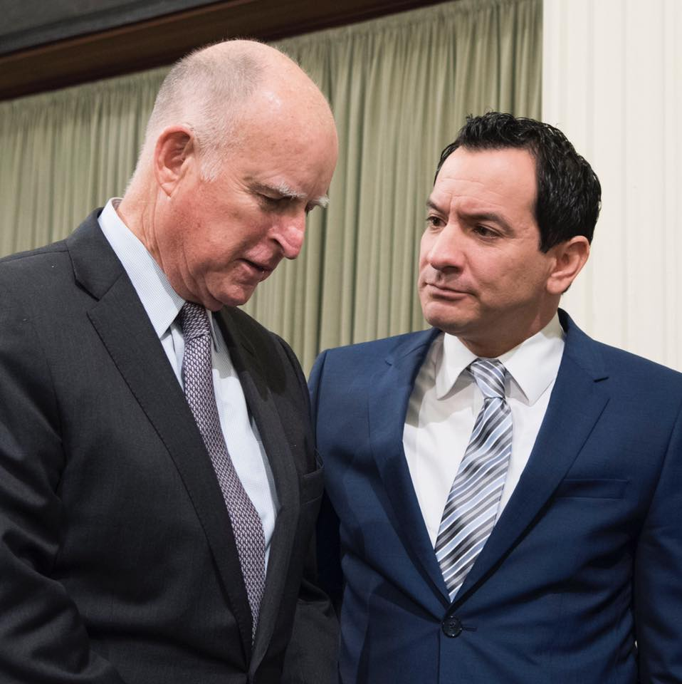 State Assembly Speaker Anthony Rendon, right, with California Gov. Jerry Brown. Rendon will serve as keynote speaker at Cerritos College's commencement ceremonies May 20.