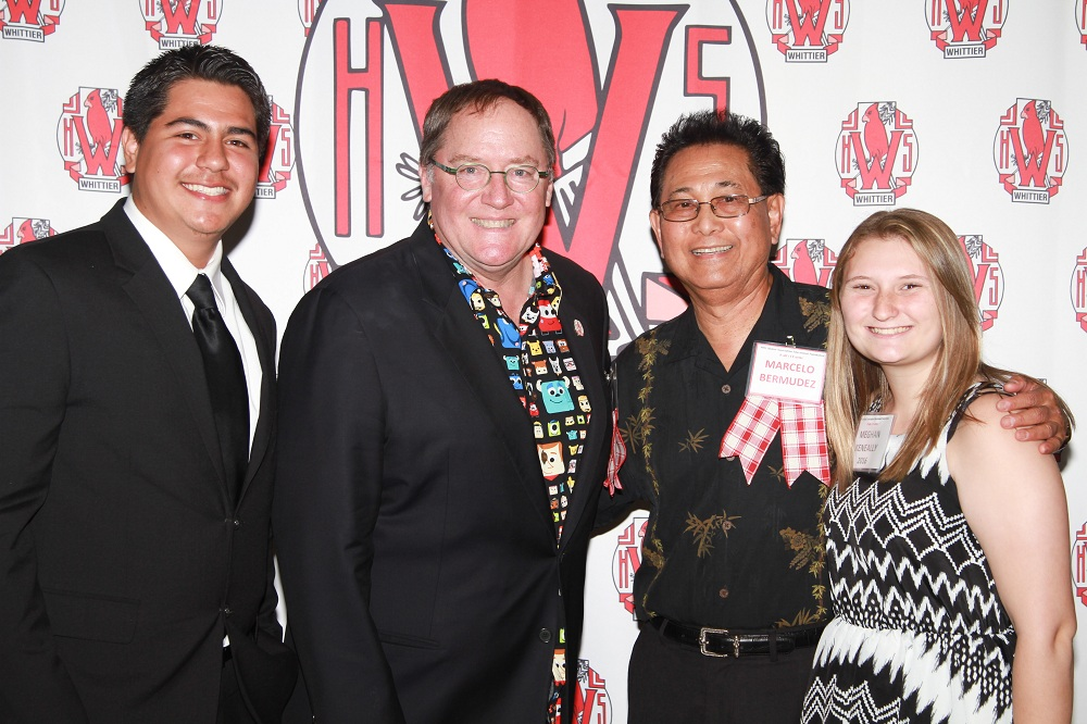 The Whittier High School Alumni Association and Educational Foundation inducted five members to its Hall of Fame and awarded $13,000 in scholarships on April 17. Pictured are Whittier High student-reporter David Solorzano, left, Disney/Pixar animator John Lasseter, mentor and art teacher Marcelo Bermudez, and student-reporter and scholarship winner Meghan Keneally.