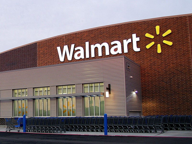 Walmart opens at the Downey Promenade on Tuesday morning.
