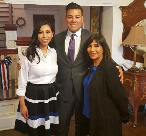 Frine Medrano, left, with state Sen. Ricardo Lara (center). Campaign photo