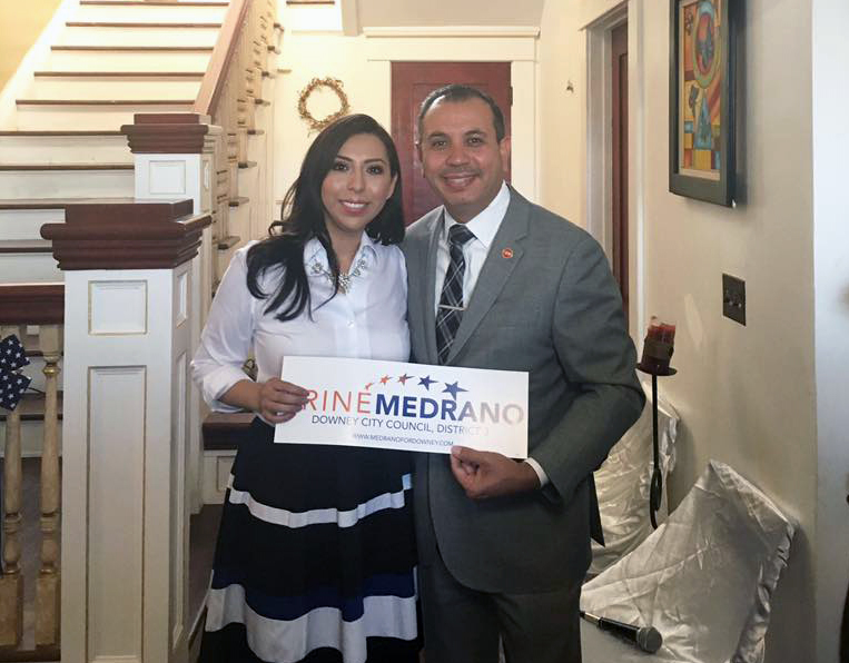 Friné Medrano and state Sen. Tony Mendoza. Campaign photo