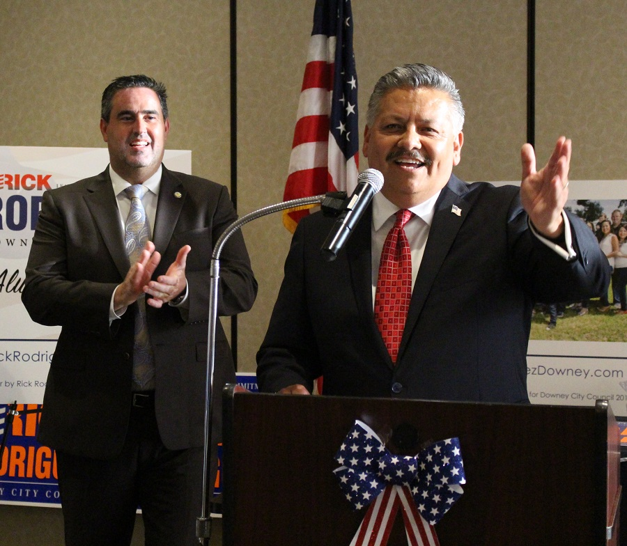 Rick Rodriguez addresses his supporters at a campaign kickoff event last week. Behind his is Mayor Alex Saab. Photo by Christian Brown