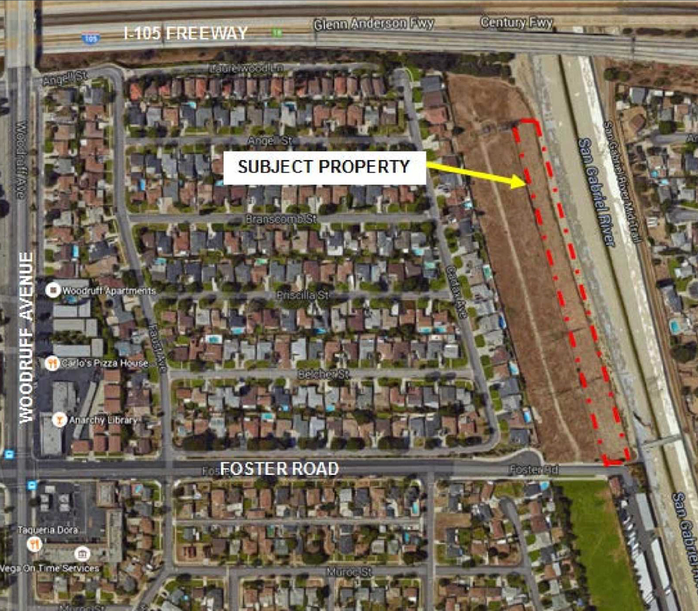 Google image of the property where a developer is seeking to build 14 condominiums. Image courtesy city of Downey