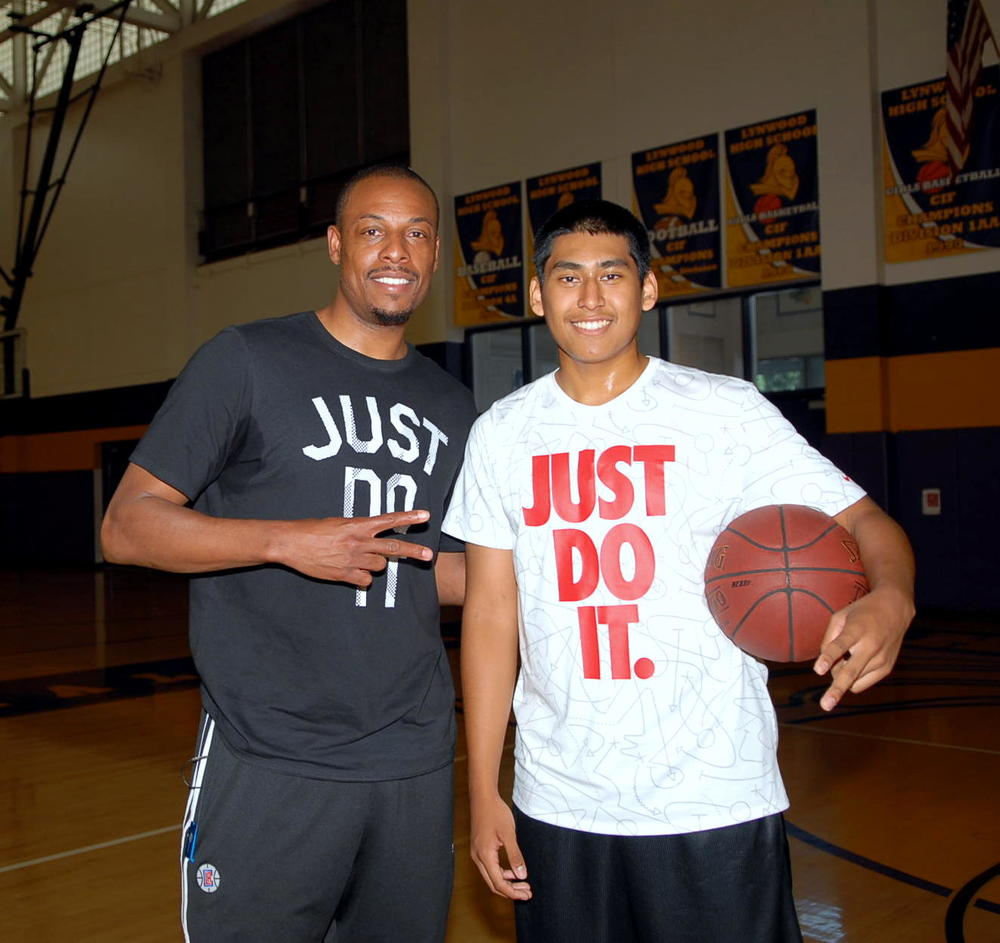Los Angeles Clippers' Paul Pierce and Lynwood High School freshman Oscar Lopez had a workout session together following an interview with Lopez for The Players' Tribune on May 24. The Players' Tribune video featuring Pierce and Lopez was released July 12.