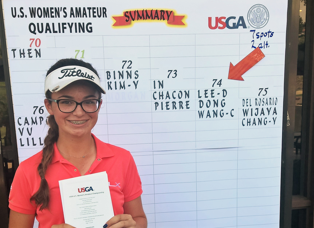 La Serna High School sophomore Briana Chacon, 14, displays the U.S. Golf Association's invitation to play in the 116th U.S. Women's Amateur Championship Aug. 1-7 in Springfield, Pennsylvania.