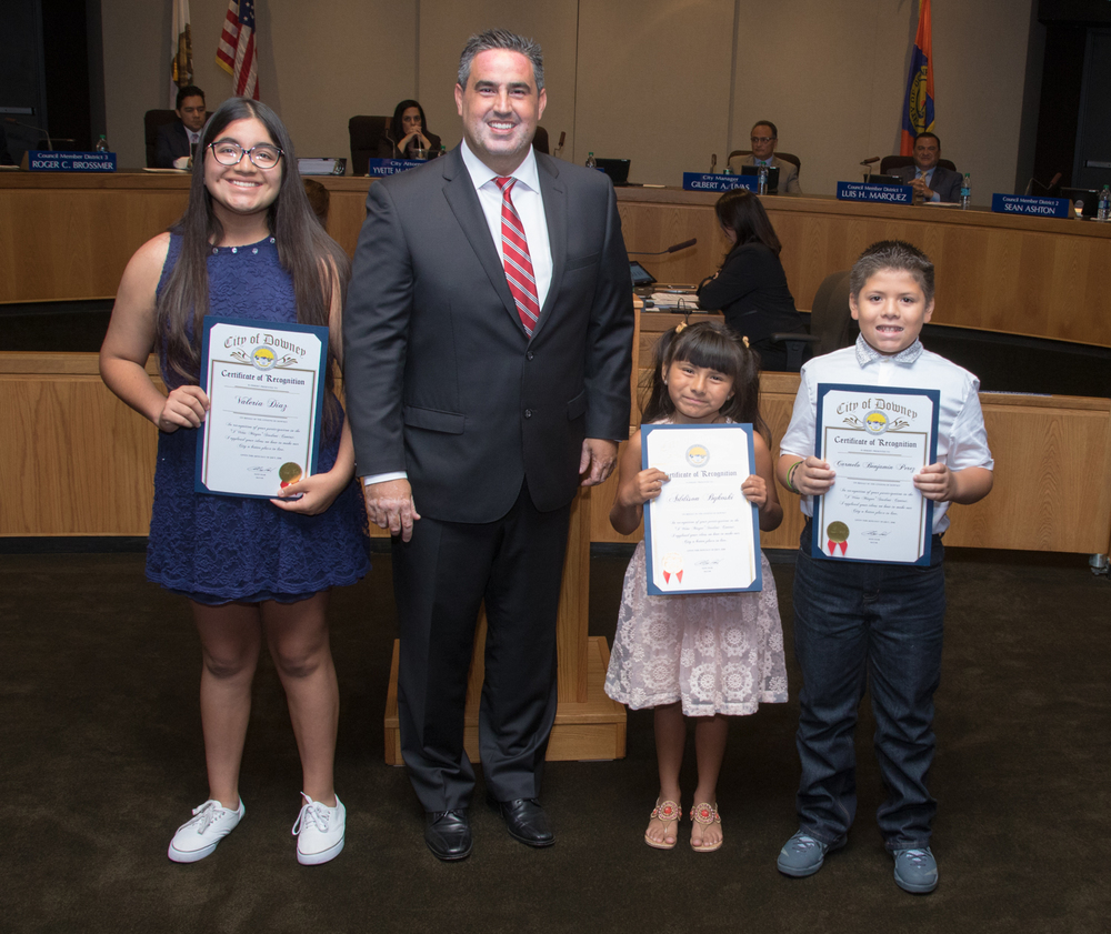 "Winners of the ""If I Were Mayor"" contest were recognized at Tuesday's City Council meeting."