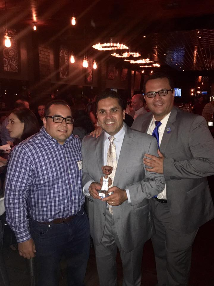 Miguel Duarte (former President of the Southeast Bruins), Efrain Aceves (candidate for L.A. Superior Court judge), and Ricardo Perez (new president of the Southeast Bruins.