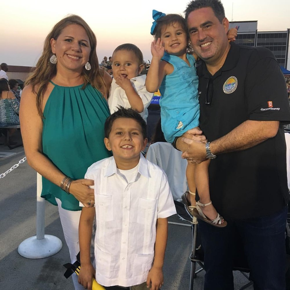 Mayor Alex Saab, wife Giggy, and their children at last month's Havana Nights concert in Downtown Downey.