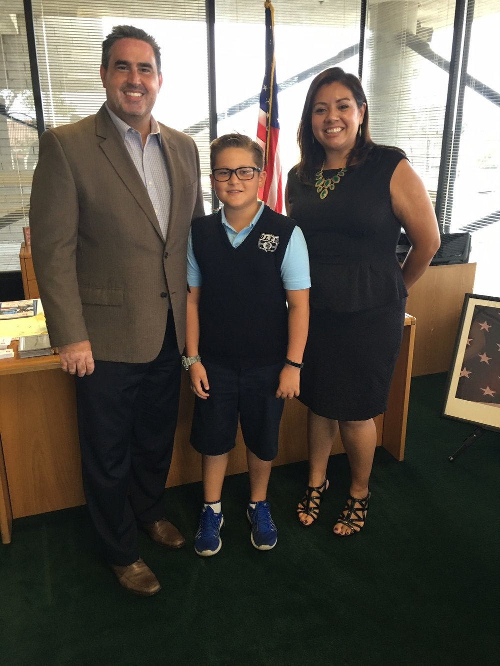 OLPH student Josh Blanco recently interviewed Mayor Saab and City Clerk Jimenez for a school project.