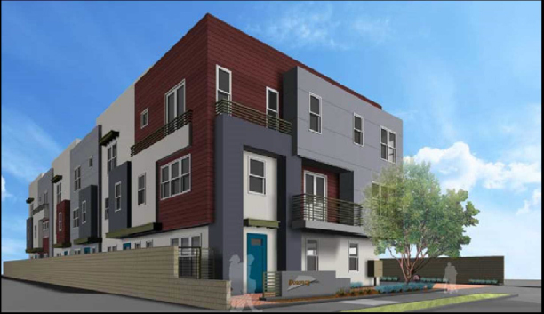 An artist's rendering of the six townhomes proposed for 8117 2nd St.