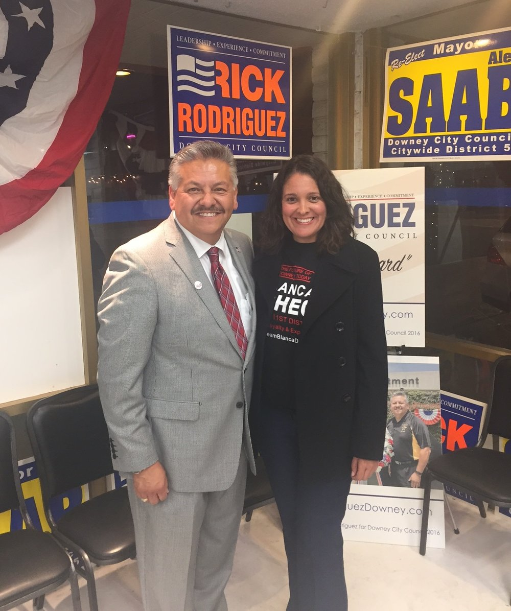 City Council candidates Rick Rodriguez and Blanca Pacheco at an election party Tuesday night. Photo by Alex Dominguez