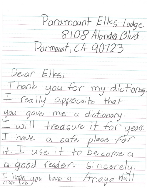 Paramount Unified School District third-graders sent thank-you letters to the Paramount Elks Lodge after receiving free dictionaries aimed at encouraging reading and vocabulary proficiency.