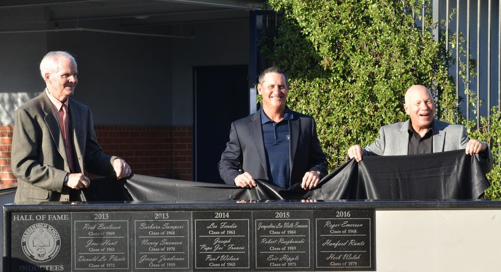 Three alumni were inducted into Warren High School's Hall of Fame on Friday. From left: Jay Rants (representing his father, the late Hanford Rants),Herb Welch and Roger Emerson.