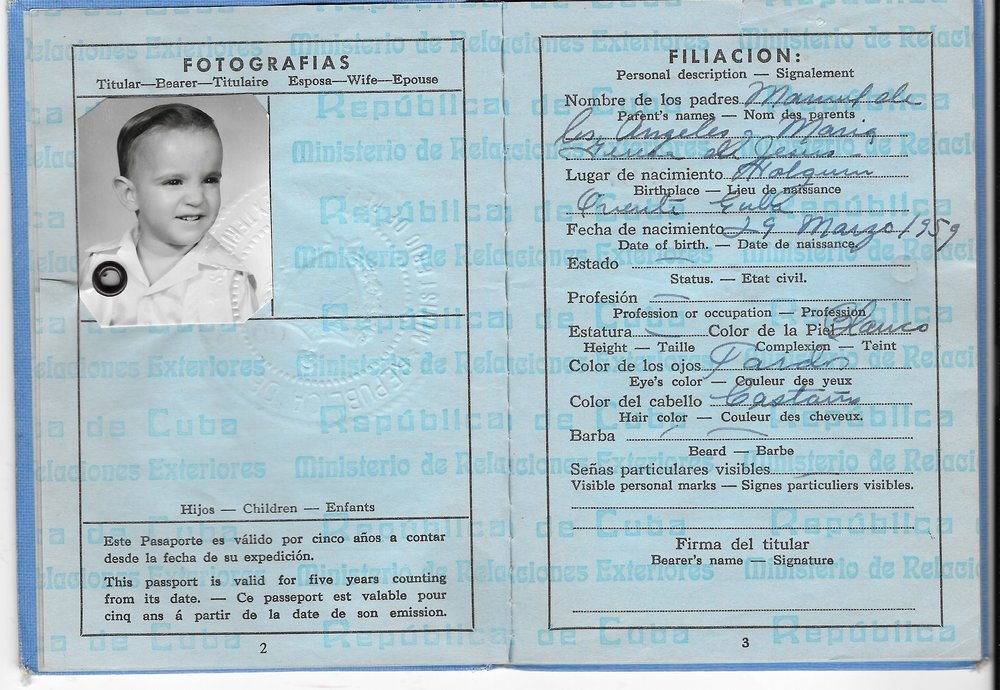 My parents escaped Cuba in 1965, seeking a life of freedom in the United States. Here is a copy of my passport.