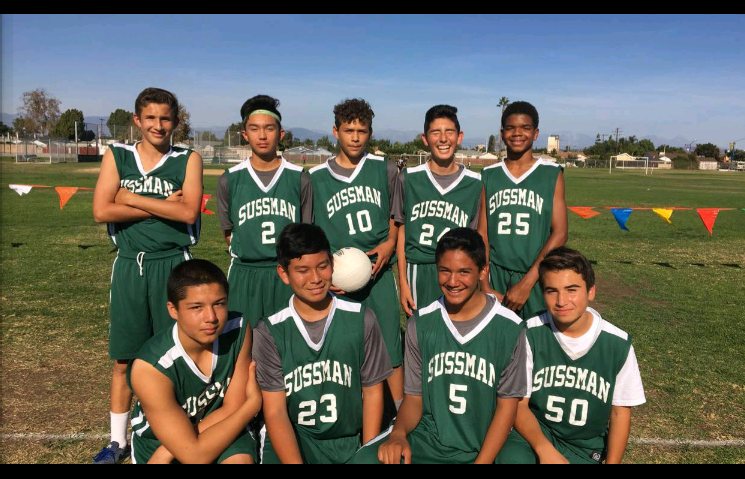 Sussman Middle School's championship eighth grade boys volleyball team.