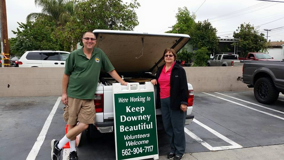 Councilman Sean Ashton at a Keep Downey Beautiful cleanup. Also pictured is Carol Rowland.