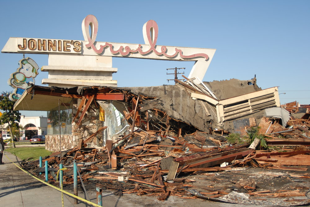 Johnie's Broiler after its illegal demolition in 2007. Photo by Eric Pierce