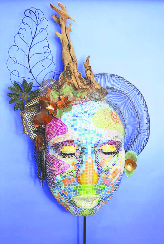 This mask by sculptor Gail Glikmann will be one of several pieces of art displayed before the Downey Symphony concert on Jan. 28.