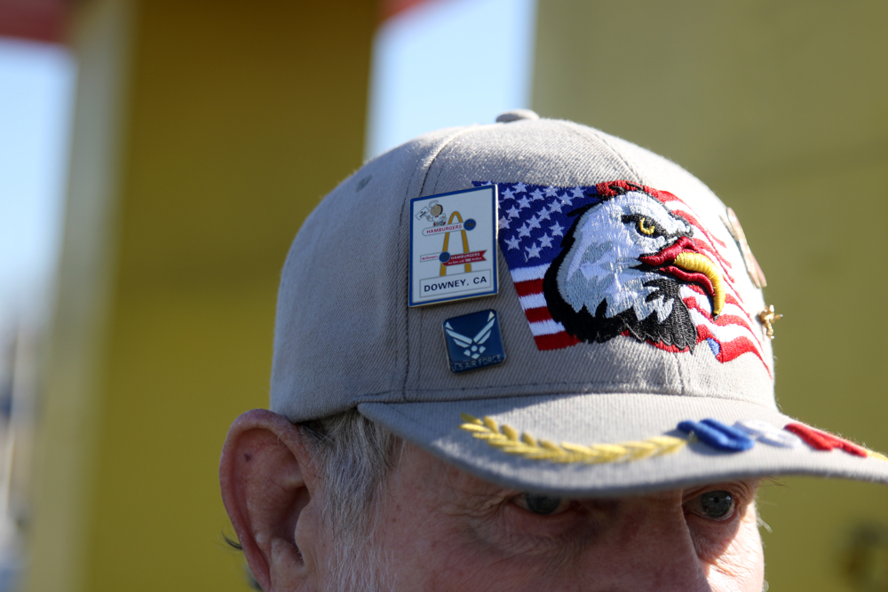 Don Herlinger wears a Speedee McDonald's pin on his hat. Photo by Eric Pierce