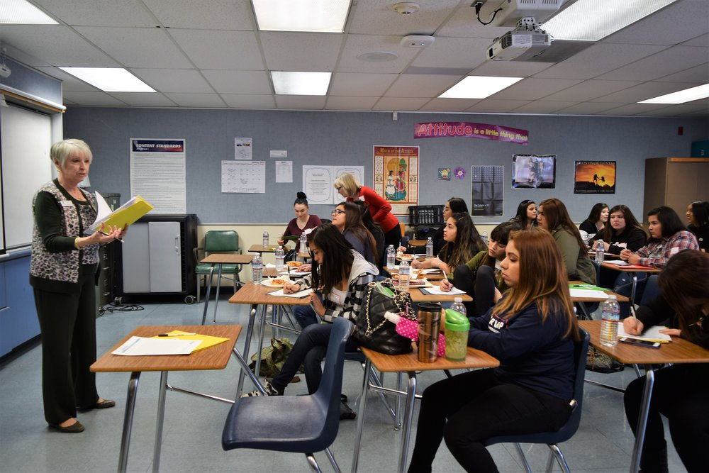 A member of Soroptimist International of Whittier leads a group discussion on role models during the Dream It, Be It female empowerment program for girls at Frontier High School on Jan. 26.