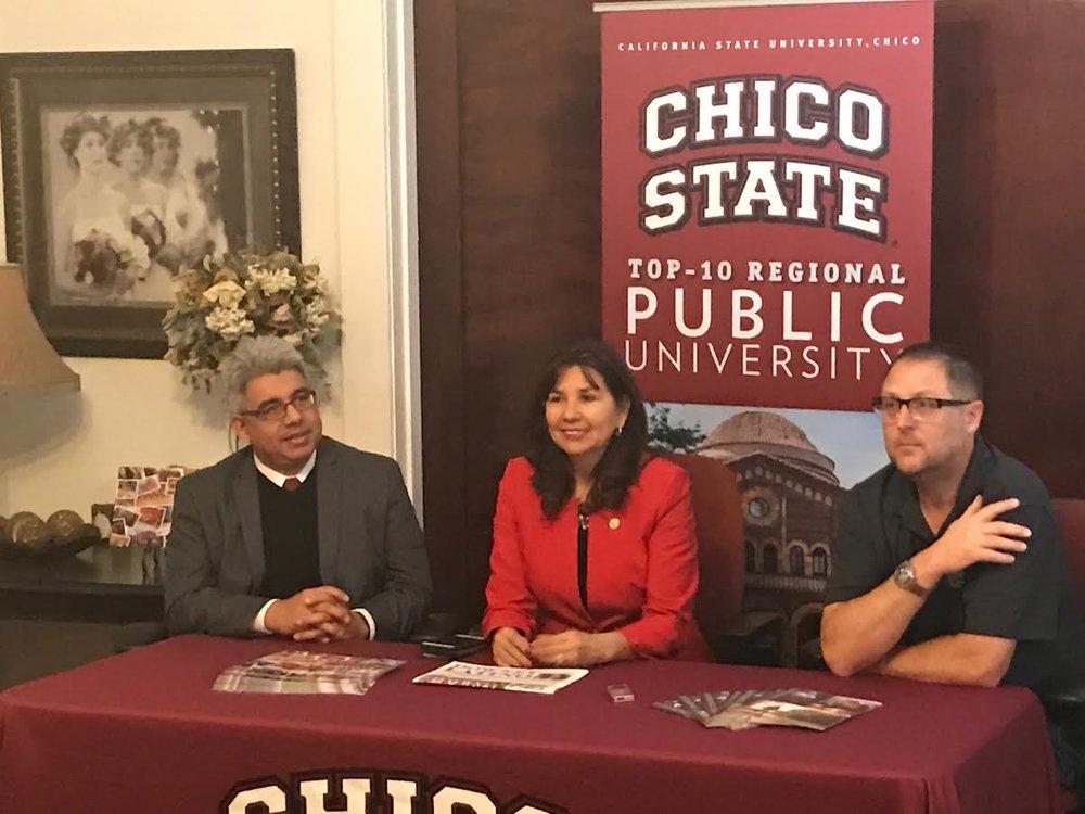 Chico State associate director Peter Martinez, Paula Mejia and Sean Ashton.