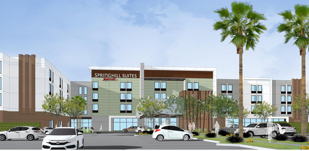 Artist rendering of the Springhill Suites approved for Firestone Boulevard in Downey.