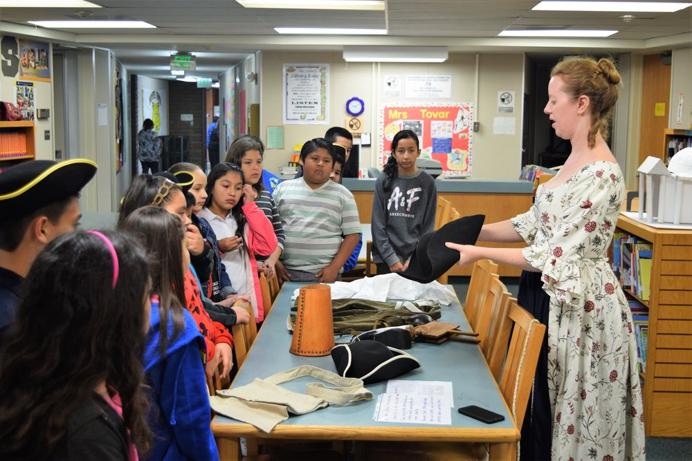 Monte Vista Elementary School teachers and volunteers recreated the Colonial period for students at the South Whittier school who are studying the American Revolution. Students learned about the day-to-day-life of early settlers, from candle-making to tool-making on Feb. 24.