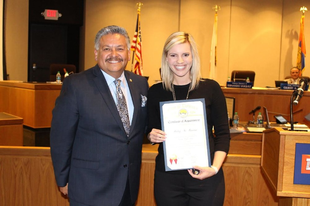 Haley Guerra with Councilman Rick Rodriguez, who appointed her to Downey's Green Task Force. Photo by Hans Fritz