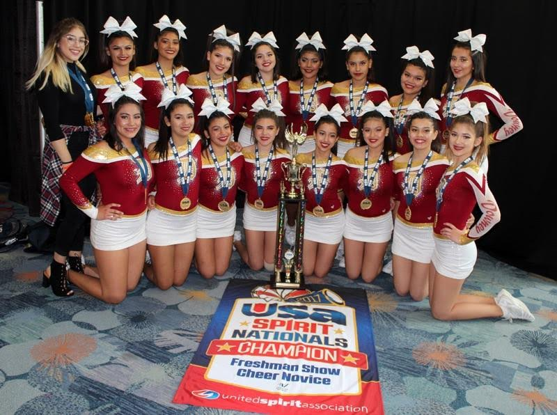 Downey High School's freshman cheer squad won the USA Spirit's National Cheer Competition in the Freshman category on Sunday.  The competition was held at the Anaheim Convention Center and included schools from across the country.