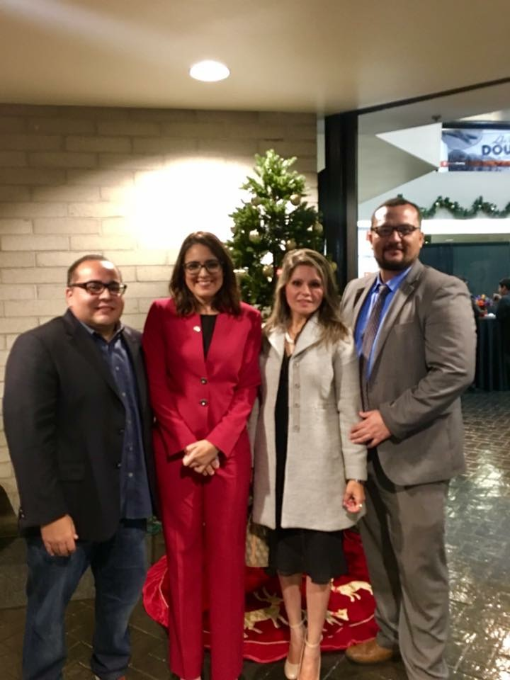 From left: Downey planning commissioner and attorney Miguel Duarte, Councilmember Blanca Pacheco, Maria Torres; and attorney Ricardo Perez.