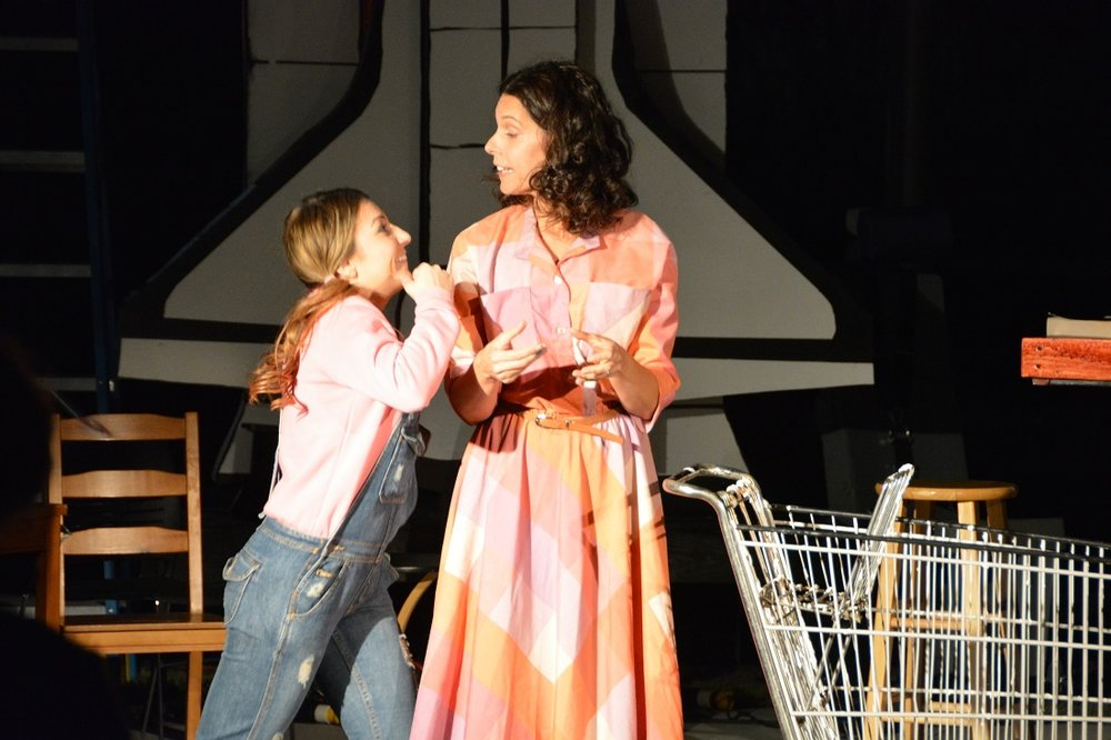 "Bianca Meiloaica plays daughter Elizabeth and Kerry Wieder plays the Teacher in the 2014 production of ""Defying Gravity"" at the Columbia Memorial Space Center. Photo by Carol Kearns"