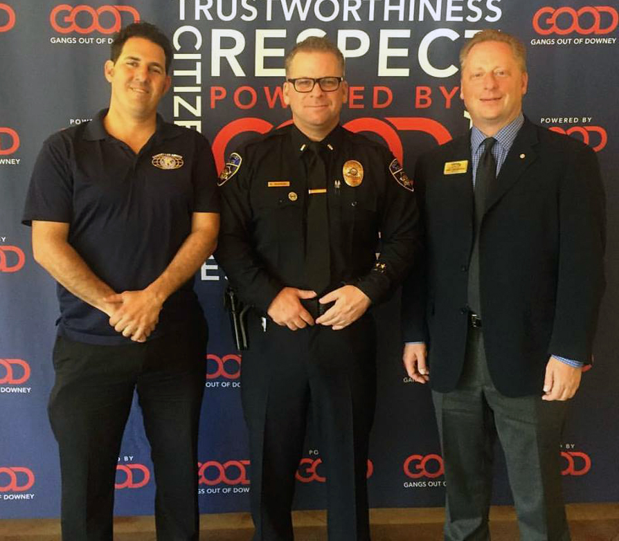 Michael Chirco, president of Downey Los Amigos Kiwanis; Mark McDaniel, president of Gangs Out of Downey; and Jason Cierpiszewski, past president Downey Kiwanis Club.