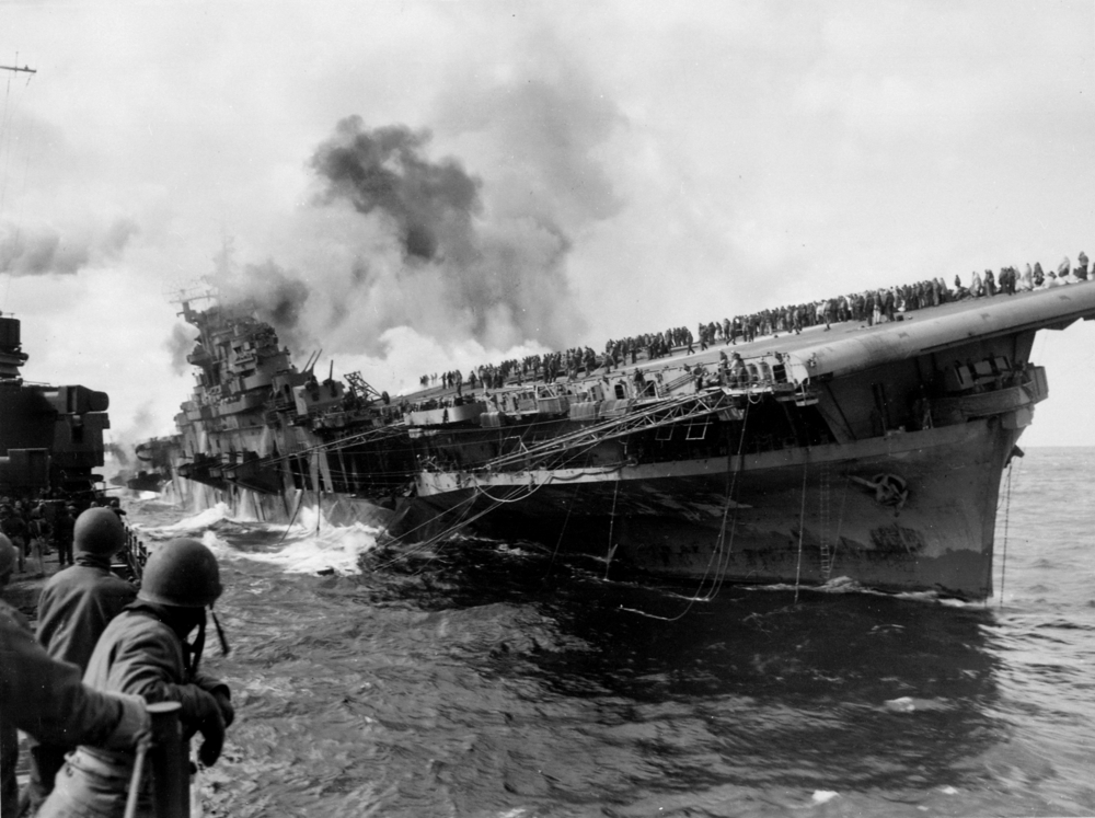 The USS Franklin after it was struck by a Japanese bomb.