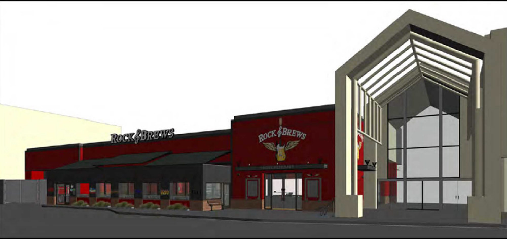 A rendering of the Rock & Brews restaurant opening at Stonewood Center.