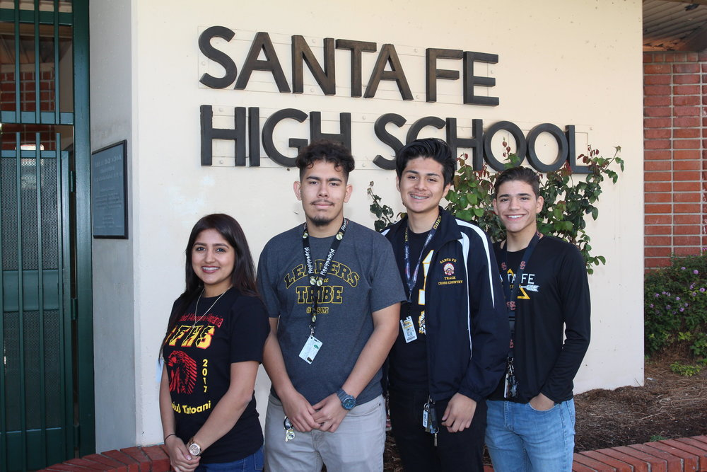 Santa Fe High School seniors Angela Torres, left, Jesus Muneton, Isaac Zarate and Nicolas Mabey were among 400 students across the nation selected as Dell Scholars for 2017, earning a collective $80,000 in scholarships to complete their post-secondary education.